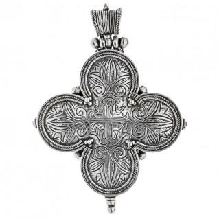 Savati Sterling Silver Byzantine Large Reliquary Cross Pendant