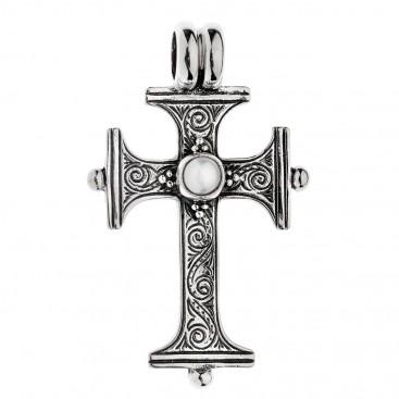 Savati Sterling Silver with Pearl Byzantine Cross Pendant