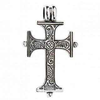 Savati Sterling Silver with Pearl Byzantine Cross Pendant