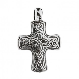 Savati Sterling Silver Byzantine Engraved Cross Pendant