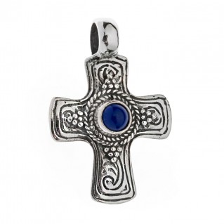 Savati Sterling Silver Byzantine Cross Pendant with Lapis