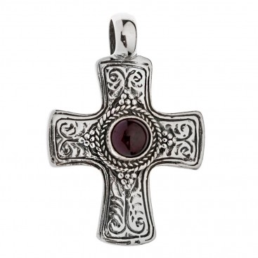 Savati Sterling Silver Byzantine Cross Pendant with Garnet