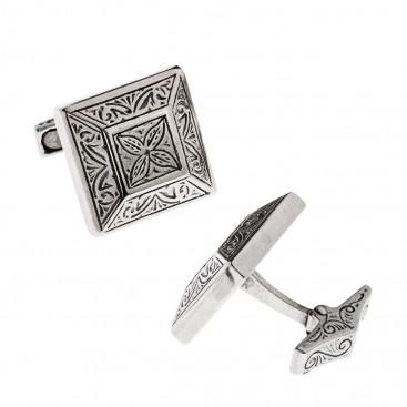 Savati Sterling Silver Byzantine Cufflinks with Engraved Motifs