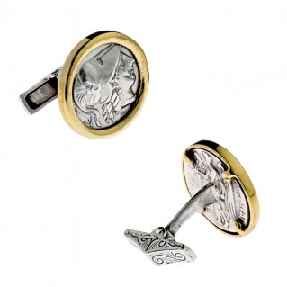 Savati Athena & Nike Stater ~ Sterling Silver & Bronze Coin Cufflinks