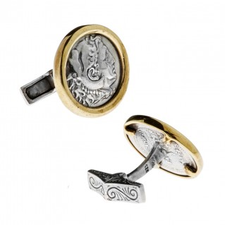 Savati Alexander the Great & Zeus ~ Sterling Silver & Bronze Coin Cufflinks