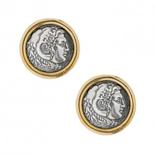 Savati Alexander the Great and Zeus - Bronze and Silver Coin Earrings