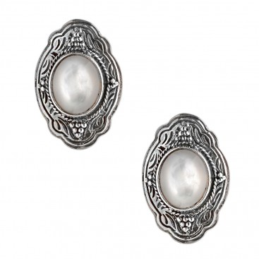 Savati Sterling Silver Byzantine Clip Earrings with Mother of Pearl