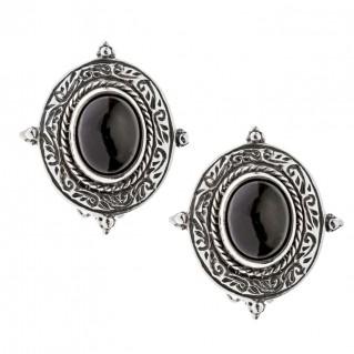 Savati Sterling Silver Byzantine Clip Earrings with Garnet