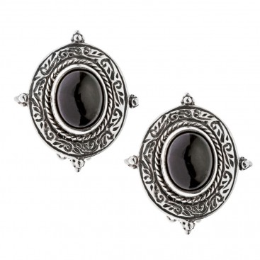 Savati Sterling Silver Byzantine Clip Earrings with Garnet