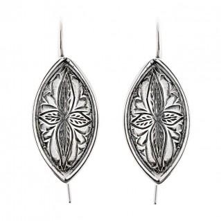 Savati Sterling Silver Byzantine Ornate Drop Hook Earrings
