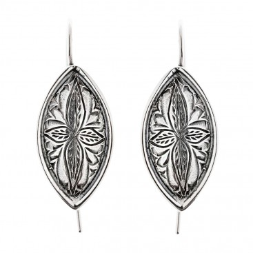 Savati Sterling Silver Byzantine Ornate Drop Hook Earrings