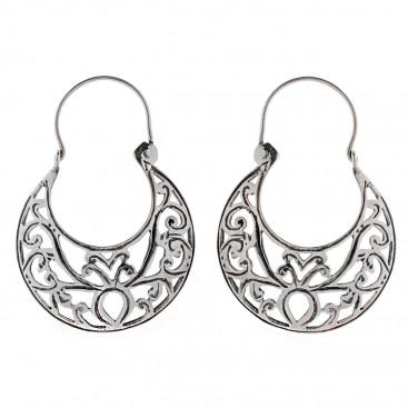 Savati Sterling Silver Byzantine Crescent Earrings