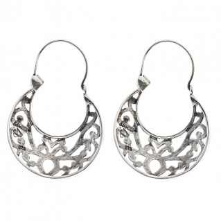 Savati Sterling Silver Byzantine Crescent Earrings