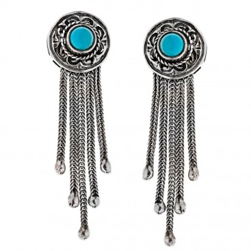 Savati Sterling Silver with Turquoise Byzantine Drop Fringed Earrings