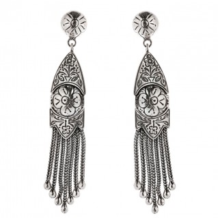 Savati Sterling Silver Byzantine Dangle Fringed Earrings