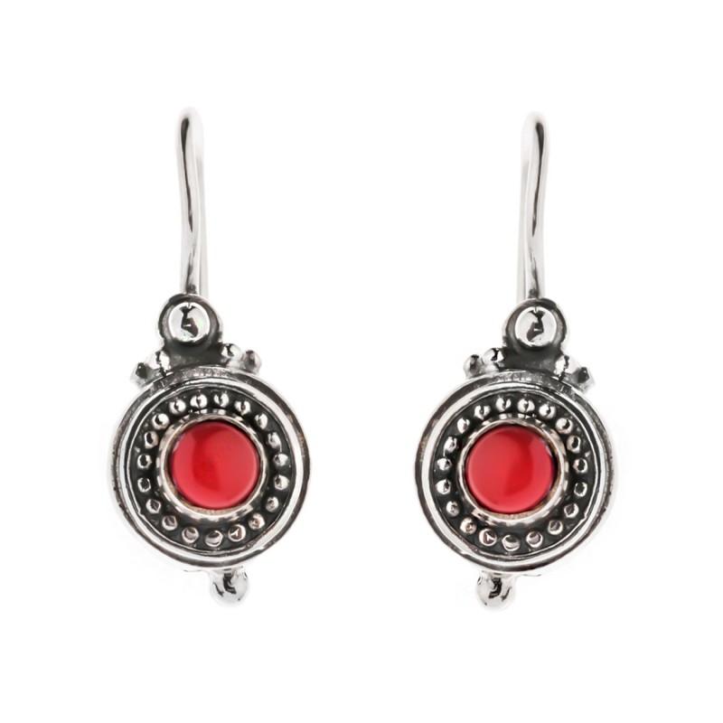 38362995a Designer Savati Drop Earrings – Silver & Coral | CultureTaste