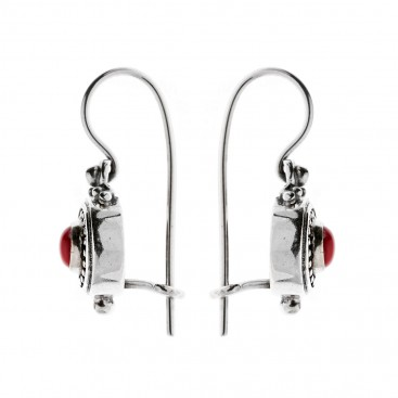 Savati Sterling Silver Byzantine Drop Earrings with Coral