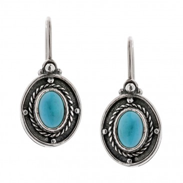 Savati Sterling Silver & Turquoise Byzantine Drop Earrings