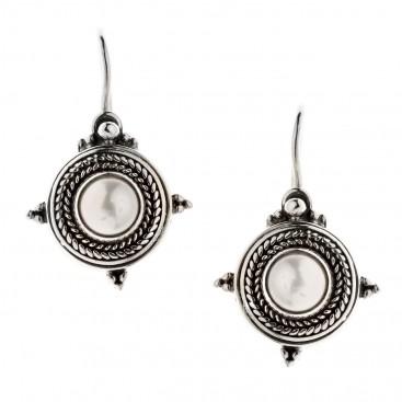 Savati Sterling Silver & Pearls Byzantine Drop Earrings