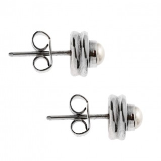 Savati Sterling Silver & Pearls Byzantine Stud Earrings