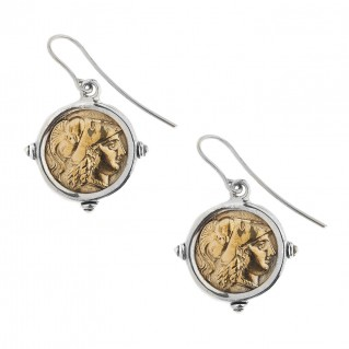 Savati Athena & Nike Stater ~ Sterling Silver & Bronze Coin Earrings