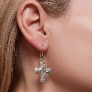 Savati Sterling Silver Byzantine Engraved Cross Earrings