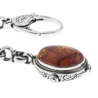 Savati Sterling Silver Keyring-Key Chain with Amber