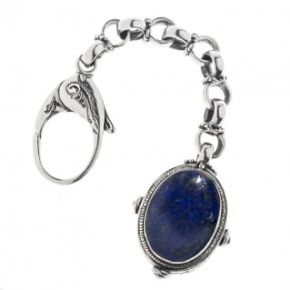 Savati Sterling Silver Keyring-Key Chain with Lapis Lazuli