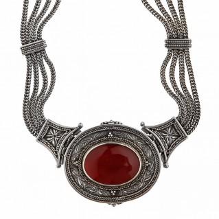 Savati Sterling Silver Multi Chain Byzantine Necklace with Carnelian