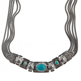 Savati Sterling Silver Multi Chain Byzantine Necklace with Turquoise