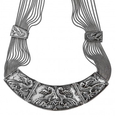 Savati Sterling Silver Multi Chain Byzantine Statement Necklace