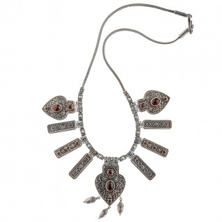 Savati Sterling Silver and Garnet Byzantine Statement Necklace