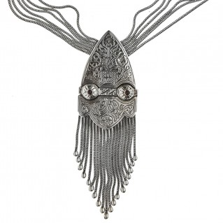 Savati Sterling Silver Byzantine Long Multi Chain Fringed Necklace