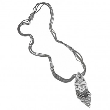 Savati Sterling Silver Byzantine Long Multi Chain Fringed Necklace