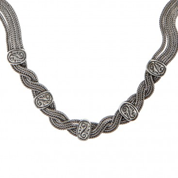Savati Sterling Silver Twisted Multi Chain Byzantine Necklace