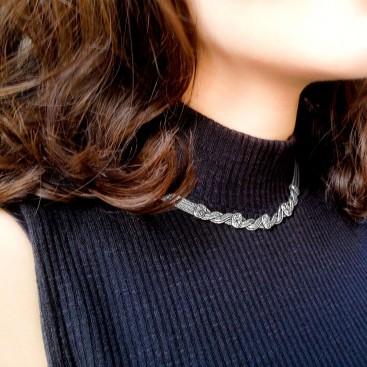 Savati Sterling Silver Twisted Multi Chain Byzantine Necklace