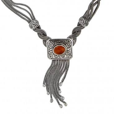 Savati Sterling Silver Byzantine Multi Chain Fringed Necklace with Amber