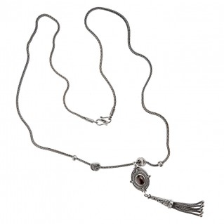 Savati Sterling Silver Byzantine Oval Long Fringed Necklace