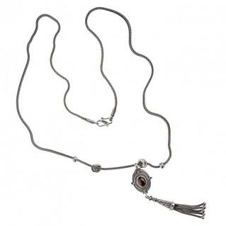 Savati Sterling Silver Byzantine Oval Long Fringed Necklace