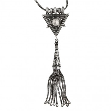 Savati Sterling Silver Byzantine Triangle Fringed Necklace