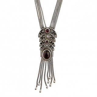 Savati Sterling Silver Byzantine Multi Chain Fringed Necklace