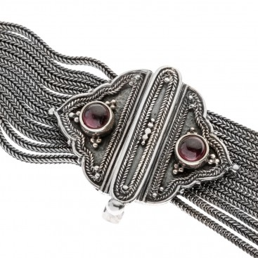 Savati Sterling Silver & Garnet Two In One Byzantine Chain Necklace