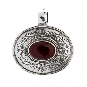 Savati Large Oval Sterling Silver Byzantine Pendant with Garnet