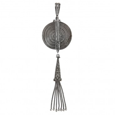Savati Sterling Silver Byzantine Large Sinuous Pendant with Silver Tassel