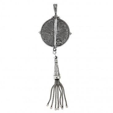Savati Sterling Silver Byzantine Large Round Pendant with Silver Tassel