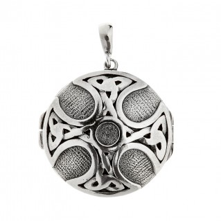Savati Sterling Silver Celtic Maltese Cross Locket Pendant