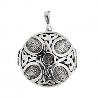 Savati Sterling Silver Celtic Maltese Cross Locket Pendant