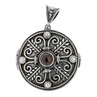 Savati Sterling Silver Byzantine Locket Pendant with Stones