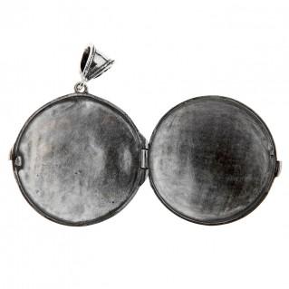Savati Sterling Silver Byzantine Locket Pendant with Stones