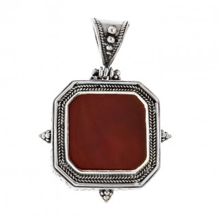 Savati Sterling Silver and Carnelian Gemstone Byzantine Pendant